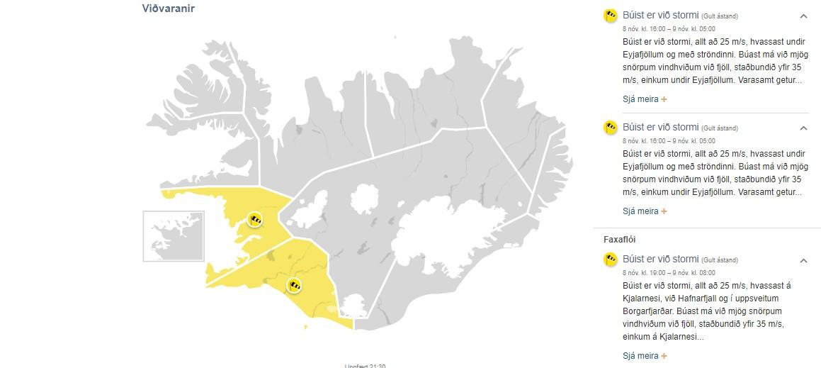 Gul viðvörun: Suðurland og Faxaflói – 18-25 m/s