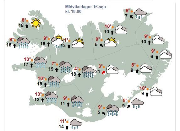 Vaxandi suðaustanátt, 8-15 m/s eftir hádegi og rigning