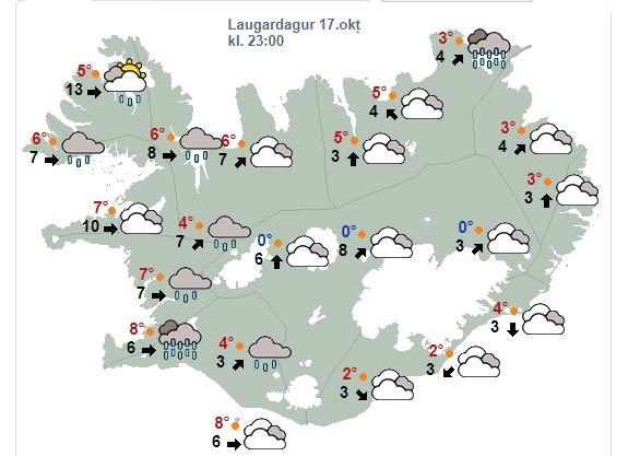 Í kvöld gengur í suðvestan 5-13 m/s með rigningu eða súld